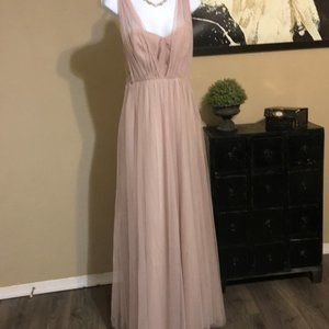 Nude Chiffon Evening Gown